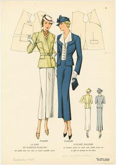 a jupe de flanelle blanche est portée avec une veste en tweed quadrillé citron ; Elegant tailleur en duvetine prune. La... (1935)
