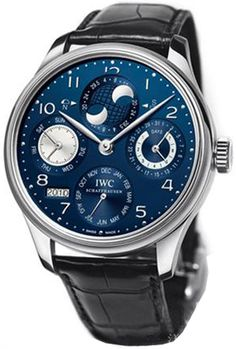 IW503203 IWC Portuguese Perpetual Calendar Watch for Men Automatic Movement Blue Dial