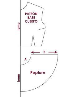 Patrón: Blusa con Peplum. (peplum pattern):
