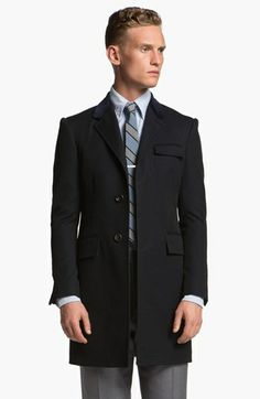 Thom Browne 'Chesterfield' Skinny Wool Blend Overcoat available at #Nordstrom