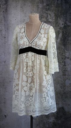 Hippie Boho Gypsy Festival Wedding Lace Empire Waist Dress by LaineeLee on Etsy