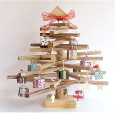 Handcrafted 45 cm Wooden Christmas Tree with decorations great for small unit/flat or table