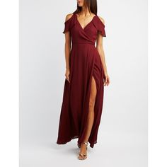 Charlotte Russe Cold Shoulder Ruffle Surplice Maxi Dress ($50) ❤ liked on Polyvore featuring dresses, gowns, burgundy, long evening gowns, maxi dress, burgundy maxi dress, bridesmaid dresses and long sleeve dress