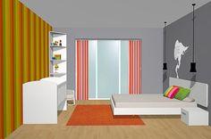 Vista general del dormitorio de matrimonio con los muebles del catálogo de dormitorios y armarios Esenzia con cuna de bebe