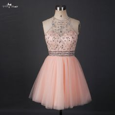 RSE663 Short Sparkly Homecoming Dresses Halter Neck Beaded Crystals Tulle Mini Key hole Open Back Party Graduation Dress