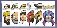 A colorful and varied set of Nativity role play masks - guaranteed to make your role play great fun! A Christmas Story, Christmas Crafts, Christmas Ideas, Primary Resources, Primary Teaching, Teaching Resources, Teaching Ideas, Daniel And The Lions, Visual Aids
