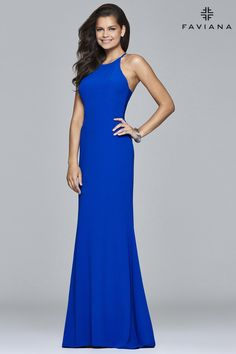 Faviana S7913 Stretch Crepe Halter Available in Royal Blue, Red & Black