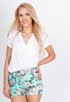 Tyrkysové kvetované šortky - ROUZIT.SK Boho Shorts, Casual Shorts, Spandex, Outfit, Women, Fashion, Outfits, Moda, Fashion Styles