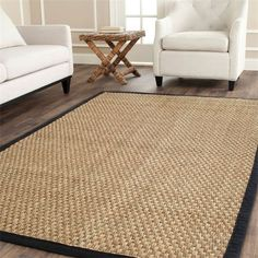 Safavieh NF114C Natural Fiber Natural/Black Area Rug