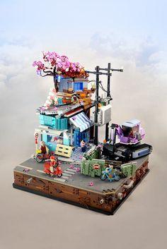 A series of familiar scenes from Vietnam LEGO builder Khang Huynh has created a . - New Ideas Lego Ninjago City, Lego City, Lego Modular, Lego Design, Vietnam, Legos, Pokemon Lego, Amazing Lego Creations, Lego Craft