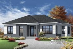 House plan 3138 from DrummondHousePlans. Modern bungalow of +two bedrooms, large living room, beautiful kitchen with island, basement and storage! See details here : http://www.drummondhouseplans.com/house-plan-detail/info/1003141.html