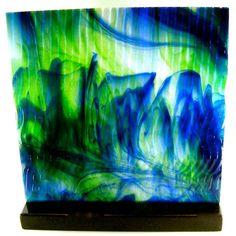 Art Glass Abstract Watercolor Sculpture Blues by coastalartglass, $325.00