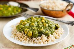 Rich and creamy, you won't believe this delicious curried kale and chickpeas contains no dairy and no oil.