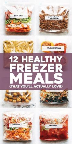 Eat Healthy HEALTHY FREEZER MEALS all in one place! Not just a list of links - it has the FULL recipes for these super yummy, real food, seriously easy freezer meals all together on one easy-to-use page. Slow Cooker Freezer Meals, Make Ahead Freezer Meals, Freezer Cooking, Easy Meals, Budget Freezer Meals, Freezer Recipes, Vegetarian Freezer Meals, Healthy Freezable Meals, Make Ahead Healthy Meals