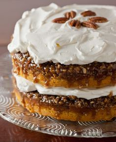 pumpkin praline cake with whipped frosting