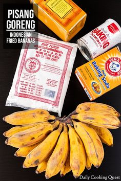 What you need to make pisang goreng: saba bananas, rice flour, baking powder, and baking soda. Asian Snacks, Asian Desserts, Asian Recipes, Health Desserts, Indonesian Desserts, Indonesian Cuisine, Indonesian Recipes, Rice Cake Recipes, Banana Bread Recipes