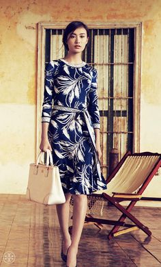 "Tory Burch Spring 2013 Lookbook..Out Of My Price Range, But Loving This Look!!  Three-Quarter Sleeve Rock As You Can Push Them Up Outside and Pull Them Down Inside In A/C....Great Dress...Which HAS To Have ""Knock-Offs"" To Be Found At Stores Near Anyone!!"
