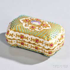 Jeweled Coalport Porcelain Cushion-shaped Box and Cover