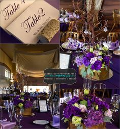 Purple Wedding Reception Decor - Purple Floral and Twig Centerpieces  - Gershon Bachus Vintners - Temecula, CA - More from this event at http://www.lorenscottphotography.com/blog/weddings/traci-and-andy-gershon-bachus-temecula-wedding/