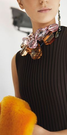Celine, fall 2014.  I love the wide- rim knit - reminds me of vintage St. John - I think the   JUMBO jewelry needs to be taken down a notch -