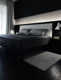 80 Bachelor Pad Men's Bedroom Ideas - Manly Interior Design Dark Black And Grey Bachelor Pad Male Be Black And Grey Bedroom, Black Rooms, Gray Bedroom, Trendy Bedroom, Male Bedroom, Bedroom Ideas For Men Modern, Modern Mens Bedroom, Men's Bedroom Design, Master Bedroom Interior