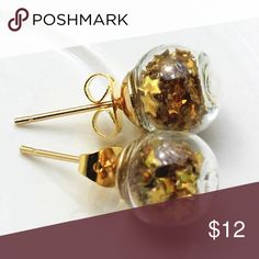 (N2) Glass Globe Earrings Pretty gold toned zinc alloy earrings. Glass globes contain gold stars. New in package. Jewelry Earrings