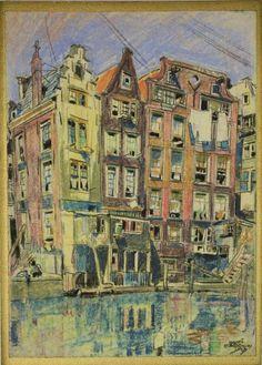 Martin Monnickendam (1874-1943), Het Kolkje te Amsterdam, 1917, pastel op papier