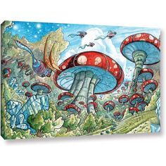 Luis Peres Mushroom Forest Gallery-Wrapped Canvas, Size: 12 x 18, Green