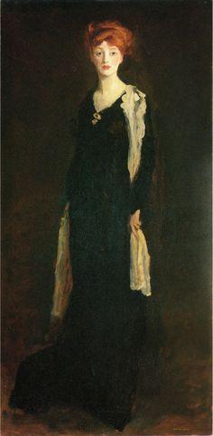 O in Black with Scarf, Marjorie Organ Henri by Robert Henri