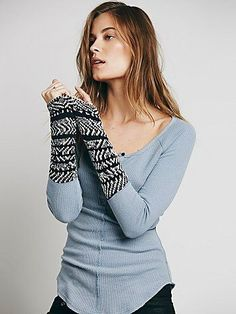 We The Free Alpine Cuff | Henley style thermal with soft sweater knit cuffs, featuring an alpine design.  *We The Free brings us back to our down-to-earth, All-American roots, made mostly with casual cottons that have a lightly distressed and perfectly worn in feel.