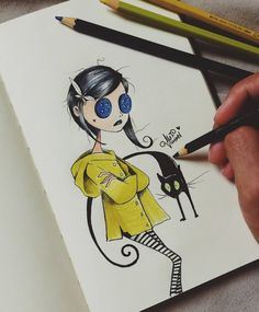Drawing Fashion Great Coraline drawing by Che K out their Insta for more awesome works Coraline Tim Burton Drawings Style, Tim Burton Art Style, Arte Tim Burton, Tim Burton Sketches, Amazing Drawings, Cute Drawings, Drawing Sketches, Coraline Drawing, Desenhos Tim Burton