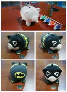 chanchitos alcancia superheroes - Buscar con Google Hobby World, Personalized Piggy Bank, This Little Piggy, New Hobbies, Peppa Pig, Sugar Skull, Diy And Crafts, Projects To Try, Creatures