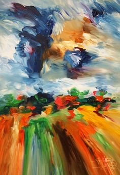 """Landscape M 1 Modern expressionist abstracted art. Acrylic painting on canvas   Size of this vital abstracted painting:  33.5"""" width x 49.2"""" height x 1.5"""" depth"""
