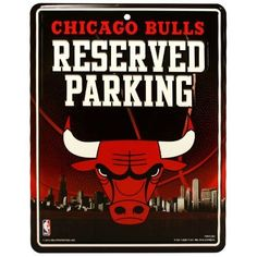 NBA Chicago Bulls Parking Sign by Rico. $10.46. Made in the USA. 4-color process graphics. Measures 8.5-inches-by-11-inches. Embossed metal. Park your spirit with Rico Tag's 8.5 -inch-by-11-inch officially licensed Parking Sign.  Embossed metal parking sign is printed with bold 4-color process graphics.  Hang in the garage or in the house!