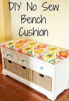 DIY No Sew Bench Cushion --  Here's one option using plywood, which requires a staple gun.... still a good tutorial