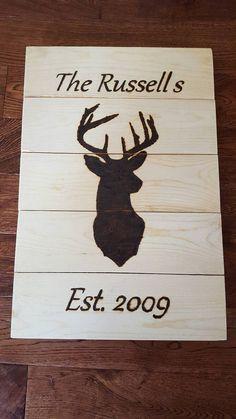 Buck sign deer sign family name established sign rustic