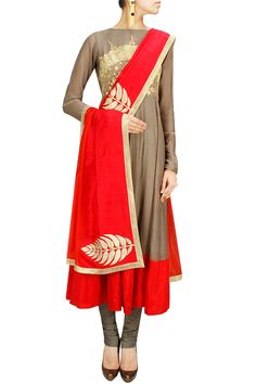 Grey and red embroidered anarkali set BY NIDHI AGARWAL.