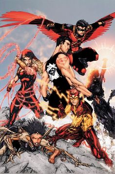 The Teen Titans are an organization of young vigilantes banded together to fight crime. Beginning as a group of side-kicks looking to distinguish themselves from their mentors, they would go on to expand into a world-wide establishment.
