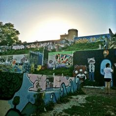 Baylor Street Graffiti Walls in Austin, Texas.  Cool thing to see in Austin on a beautiful Spring day!!