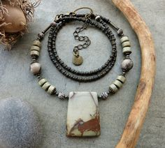 Woodland Picasso Jasper Pendant Necklace in light gray and sage green