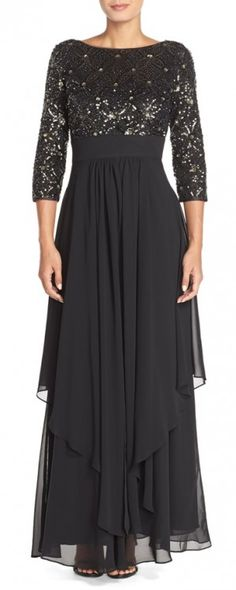 Embellished Tiered Chiffon Fit & Flare Gown