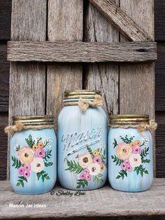 mason jar crafts This item is unavailable Boho Flower Hand Painted Mason jars Mason Jar Projects, Mason Jar Crafts, Diy Projects, Wine Bottle Crafts, Bottle Art, Wine Bottles, Henna Kunst, Gold Henna, Diy Wall Decor