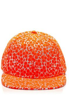 Fluoro Orange Trifoglio Embroidered Cap by Joshua Sanders Now Available on Moda Operandi