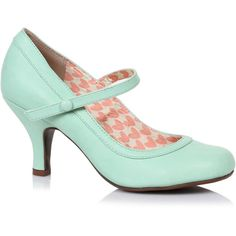 Mint Leatherette Bettie Retro Mary Jane Heels ($68) ❤ liked on Polyvore featuring shoes, pumps, heels, mint, high heel shoes, vintage mary jane pumps, mint green pumps, vintage mary jane shoes and vintage shoes