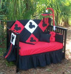 New Custom Made Disney Mickey Mouse full Crib Bedding Set.