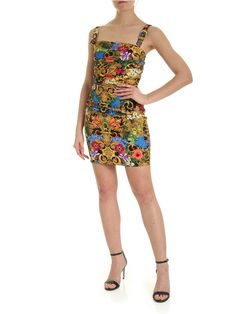 VERSACE JEANS COUTURE TROPICAL BAROQUE PRINT MULTICOLOR DRESS. #versacejeanscouture #cloth Versace Jeans Couture, Couture Fashion, World Of Fashion, Stretch Fabric, Luxury Branding, Baroque, Dress Outfits, Jade, Your Style