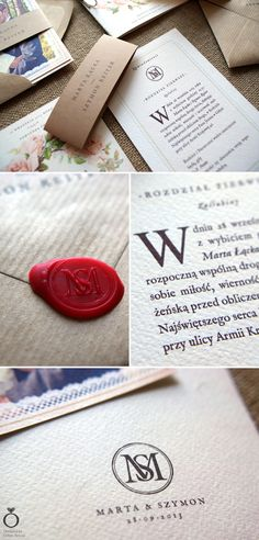 Jane Austen inspired wedding invitation for Marta & Szymon. / Designed by Calym Sercem.