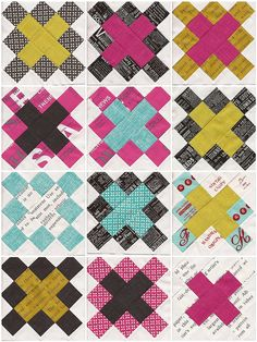 granny square quilt. great colors. love the fabric with text.  part of the Old Red Barn Co. quilt along starting March 1.