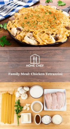 Family Meal: Chicken Tetrazzini with button mushrooms and Parmesan crust
