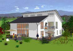 Pultdachhaus Rückansicht - Glaselemente sorgen für Helligkeit